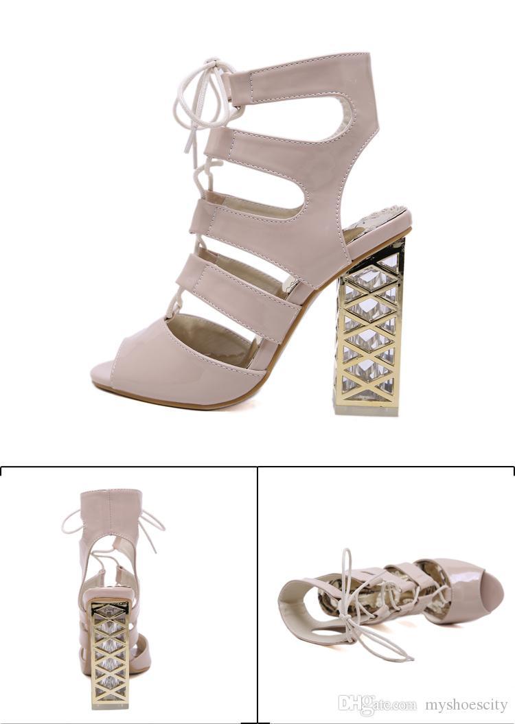 ViVi Lena weißen Sandalen nackt schnüren dicke High Heels Frauen Designer Sandalen Damen Rutschen Mode Luxus Designer Frauen Schuhe Größe 34 bis 40