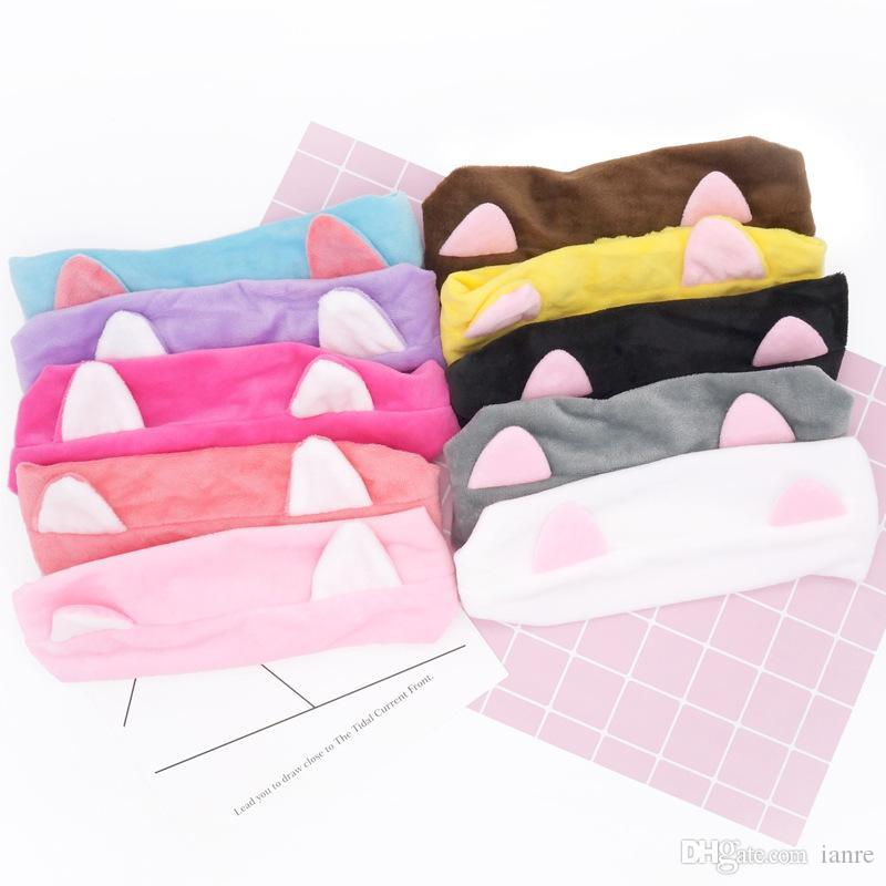 Lady Makeup Tool Headband Simple Fashion Hairband Multi Color Lovely Cat Ears Hair zhao