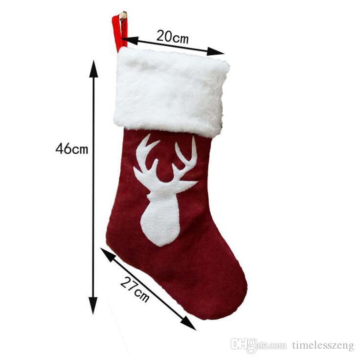 Borsa regalo di Natale Calza della Befana Albero di Natale Bambini decorativo sacchetto di caramelle da regalo calza Capodanno Prop calzini decorazioni natalizie