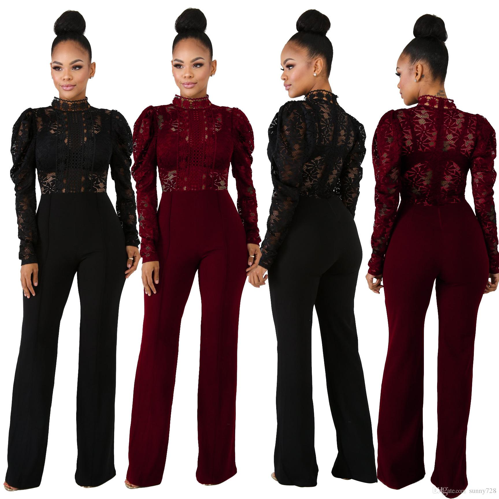 93036a6268b See Through Lace Black Burgundy Fashion Women Jumpsuits 2019 High Neck Long  Sleeves Straight Long Pants Suits Party Outfits High Quality Lace Jumpsuits  Long ...