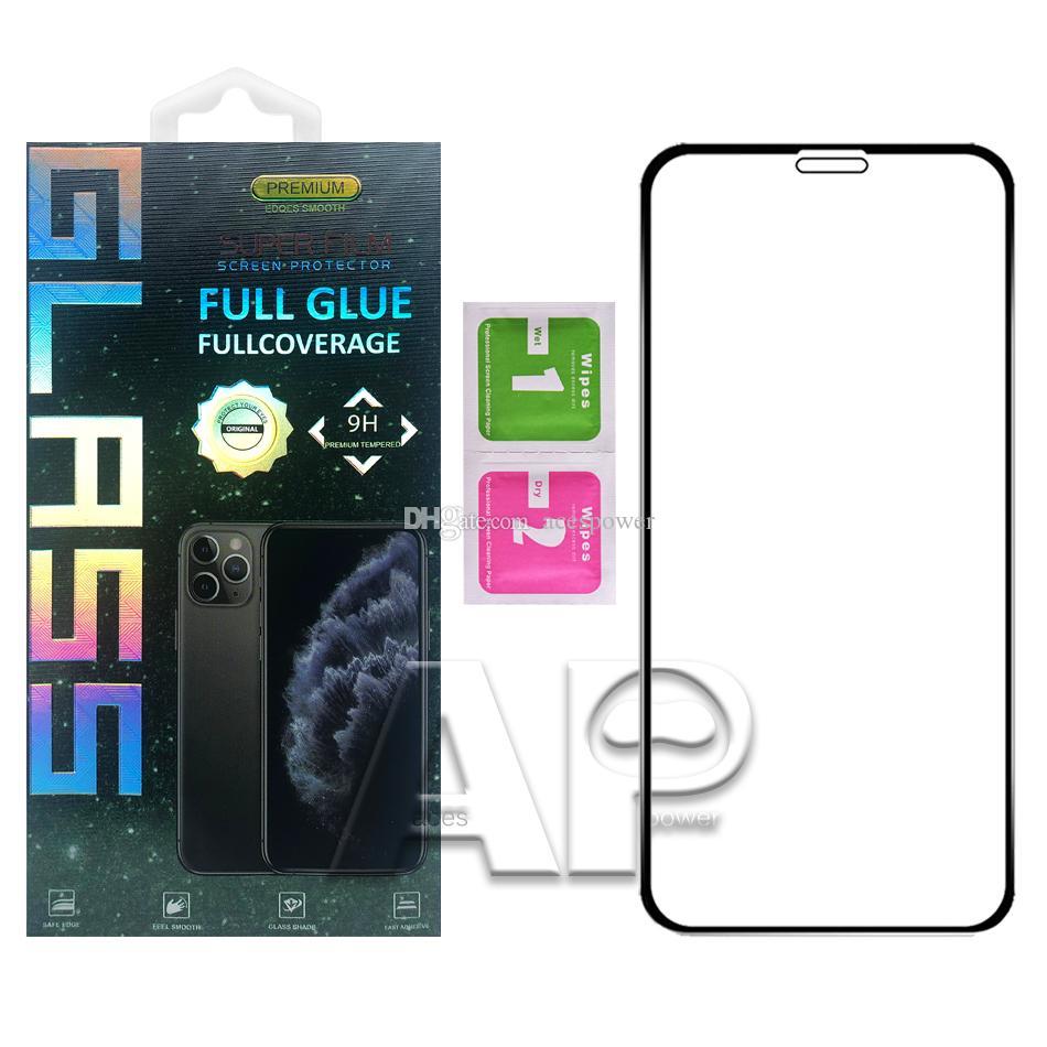 Full Cover Colla vetro temperato Iphone 11 Schermo Pro XR XS Max Protector Samsung S10E A20E A2 NUCLEO J6 nero