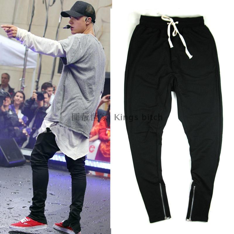 Hanging file open zipper casual trousers wild male hip-hop high street Wei pants casual pants trousers inside cultivating wild