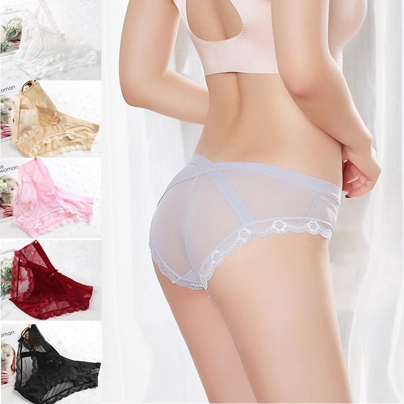 648e66cd3670 Women's Sexy Lace Panties Seamless Underwear Briefs Nylon Silk for Girls  Ladies Bikini Cotton Crotch Transparent Lingerie D3