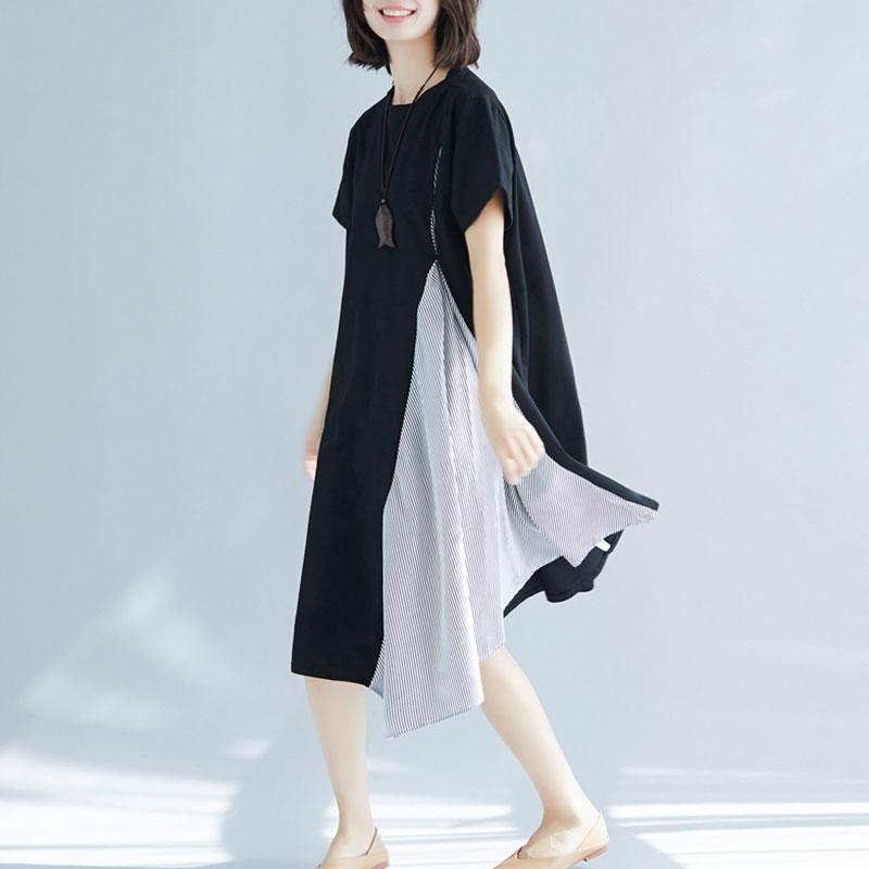 6dbbc85103a 2019 Summer Korean Loose Plus Size Stripe Stitching Fake Two Piece ...
