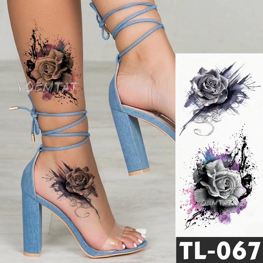 Water Transfer Dark Splash Ink Realistic Roses Temporary Tattoo ...