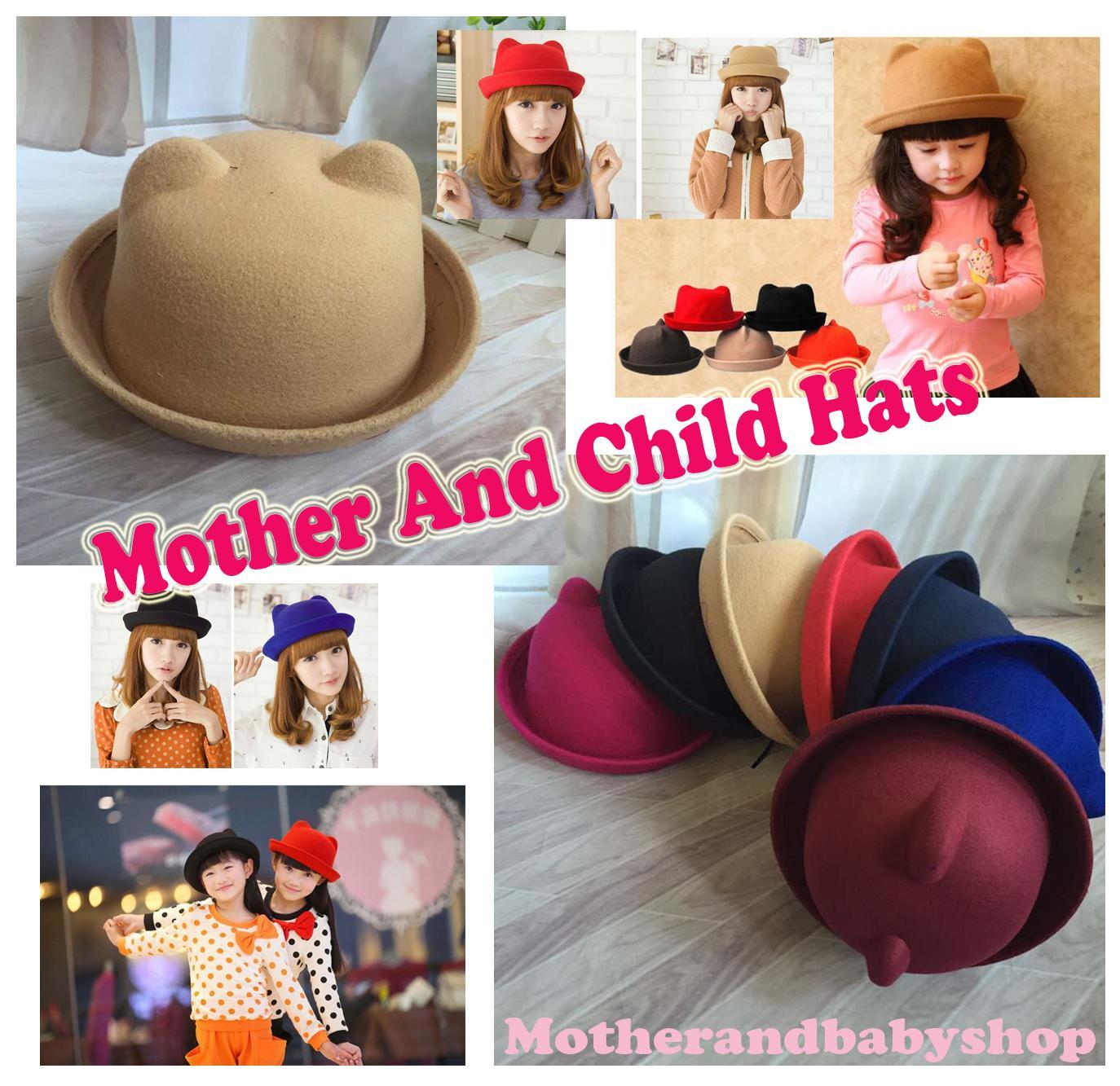 da11a2b36 Wholesale 2019 Cute Cat Ear Wool Felt Fedora Hat Girl Boy Kid Children  Derby Bowler Cap Black Mother And Child Hats Round Parent Child Caps