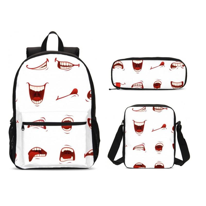 c5cf3e8ac5d3 3Pcs/Set Portfolio School Bags Teenage Children Boys Girls Funny Cute  Cartoon Emoji 3D Printing Bookbag Rugzak Escolar
