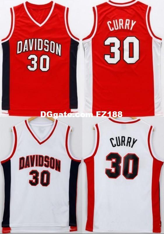 wholesale dealer b7333 26136 NCAA Davidson Wildcats Basketball Jersey Red White Stitched 30 Stephen  Curry College Jersey Shipping XS-6XL