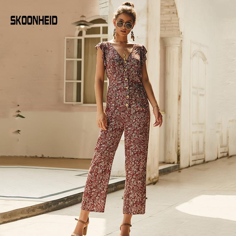 Skoonheid Chiffon Floral Jumpsuits Women Long Pants V Neck Wide Leg Pants Rompers Loose Holiday Bohemian Summer Print Overalls Y19071701