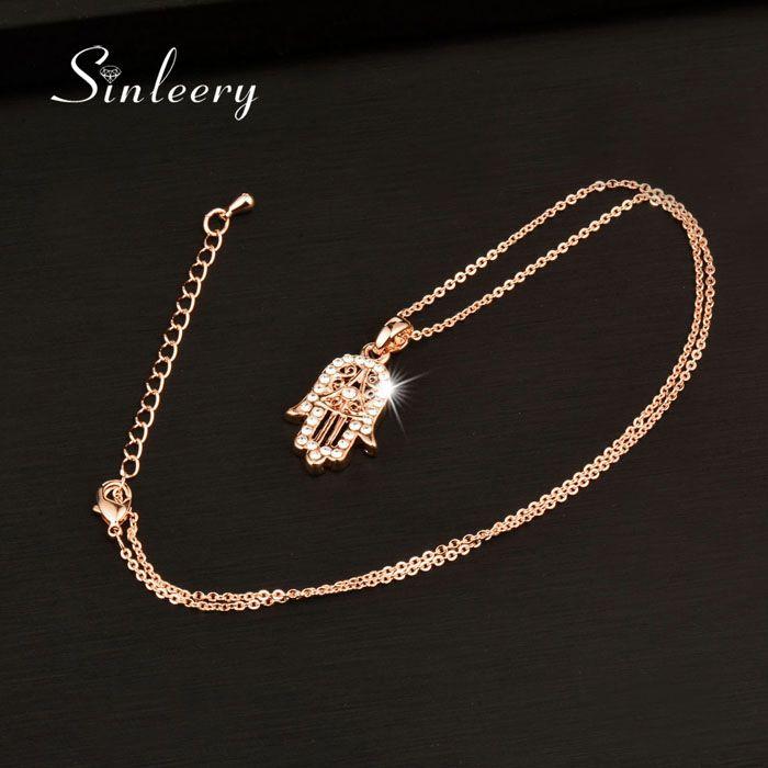 Agradável clássico Mão de Fatima Hamsa colar pingentes de ouro rosa de jóias cor Declaração Cadeia palma por Mulheres XL681 SSB