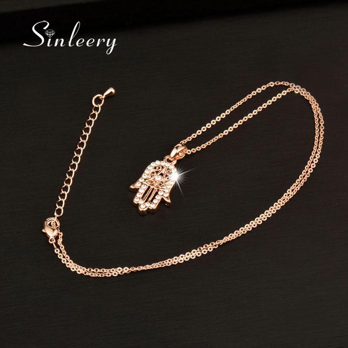 Belle main classique de Fatima Hamsa Collier en or rose Couleur chaîne Palm Déclaration de bijoux pour les femmes XL681 SSB