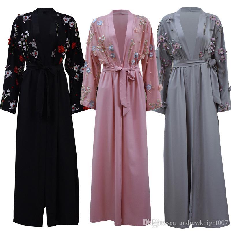 d51968ca70daeb Femmes musulmanes Emirats Arabes Unis Dubaï Kaftan Islam Islam Long Floral  Kimono Cardigan Robe Hijab Robe Turque Elbise Mubarak Islamique Vêtements