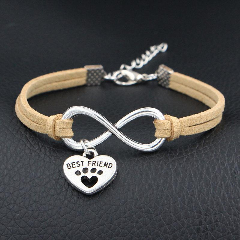 Infinity Pets Dog Paw Best Friend Cuff Bracelet Unique Beige Leather Wrap Bangles Wholesale Handmade Bohemian Weaving Jewelry Dropshipping