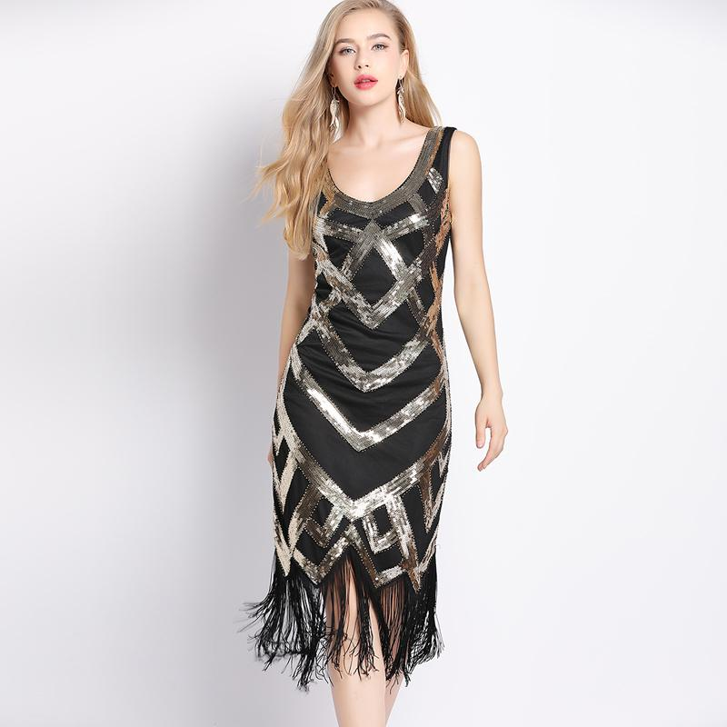 d6929e1ab816 Women 1920s Vintage Sleeveless Crisscross Fringe Sequin Flapper Dress  Roaring 20s Great Gatsby Dress Jazz Party Dance Costumes Flower Dress For  Women Long ...