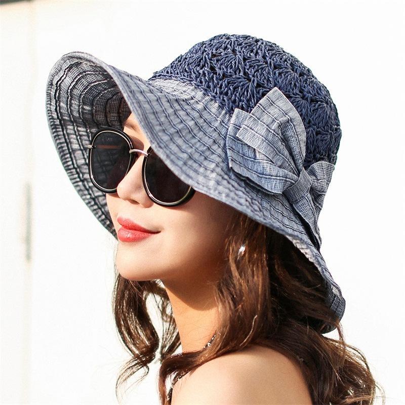 3f7c3a993d1d8 Compre 2019 Nuevo Vintage Elegante Bowknot Sombreros Para El Sol Para Mujer  Sombrero De Verano De Ala Ancha Gorras De Playa Para Mujer Color Sólido  Azul ...