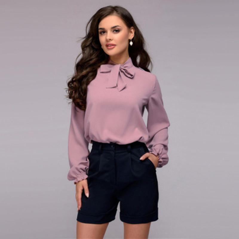 Blouses & Shirts Fashion Style Women Casual Bow Bandage Blouse Ladies O Neck Long Sleeve Tops And Blouse 2019 New Fashion Elegant Office Lady Work Shirts
