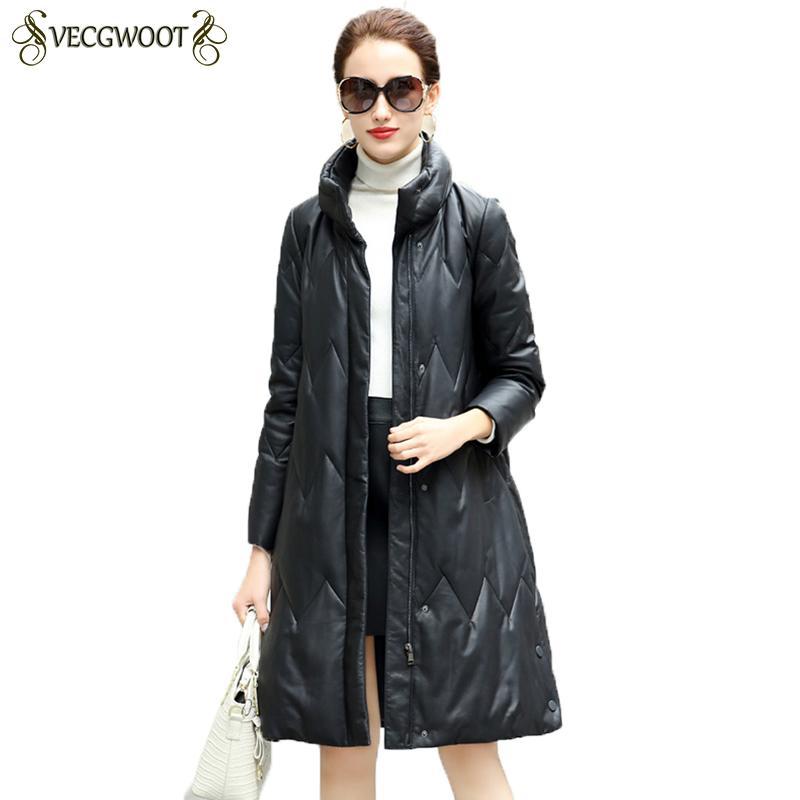 low priced c1345 64e30 Giù Giacca in vera pelle donna 2018 Cappotti di pelle di pecora invernali  di alta qualità Cappotti di pelle calda allentati neri Donna HP359