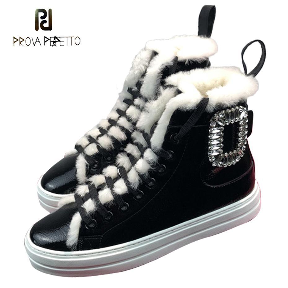 3b2c6d7f9b2ba Prova Perfetto Rhinestone Buckle Decor Women Snow Boots Lace Up ...