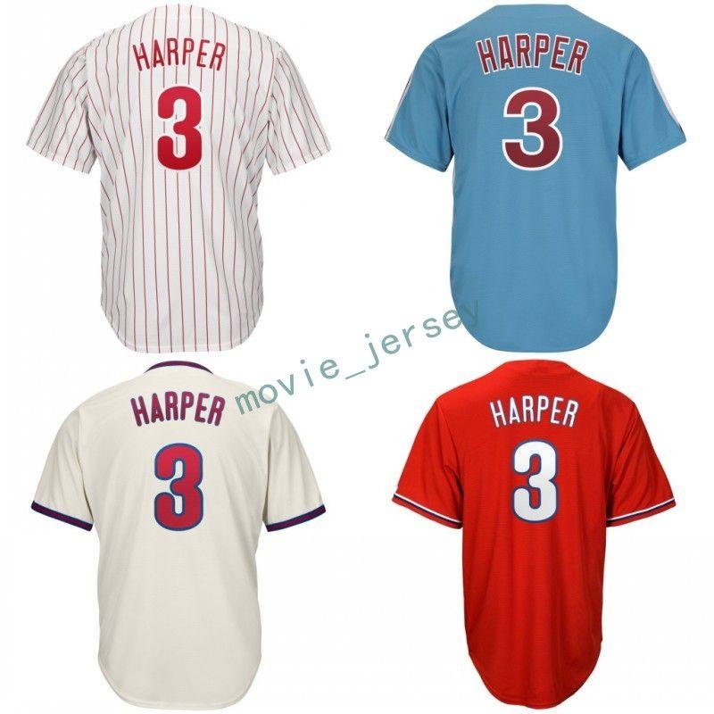 77091c6da ... shop 2019 new 2019 bryce harper jersey 3 harper philadelphia phillies  baseball jerseys white grey blue