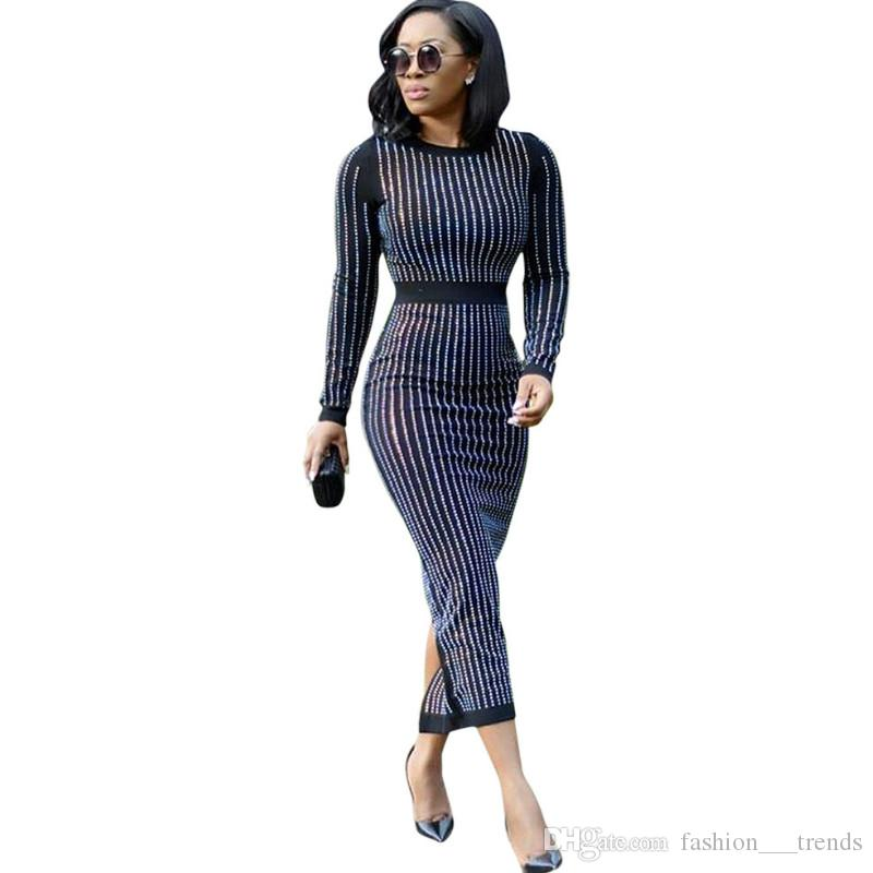 Women's Clothing 2019 Hot Drilling Bling Plus Size Korean New Striped Slim Sexy Long Shirt Dress Women Dress Spring Summer Fashion Elegant Dress