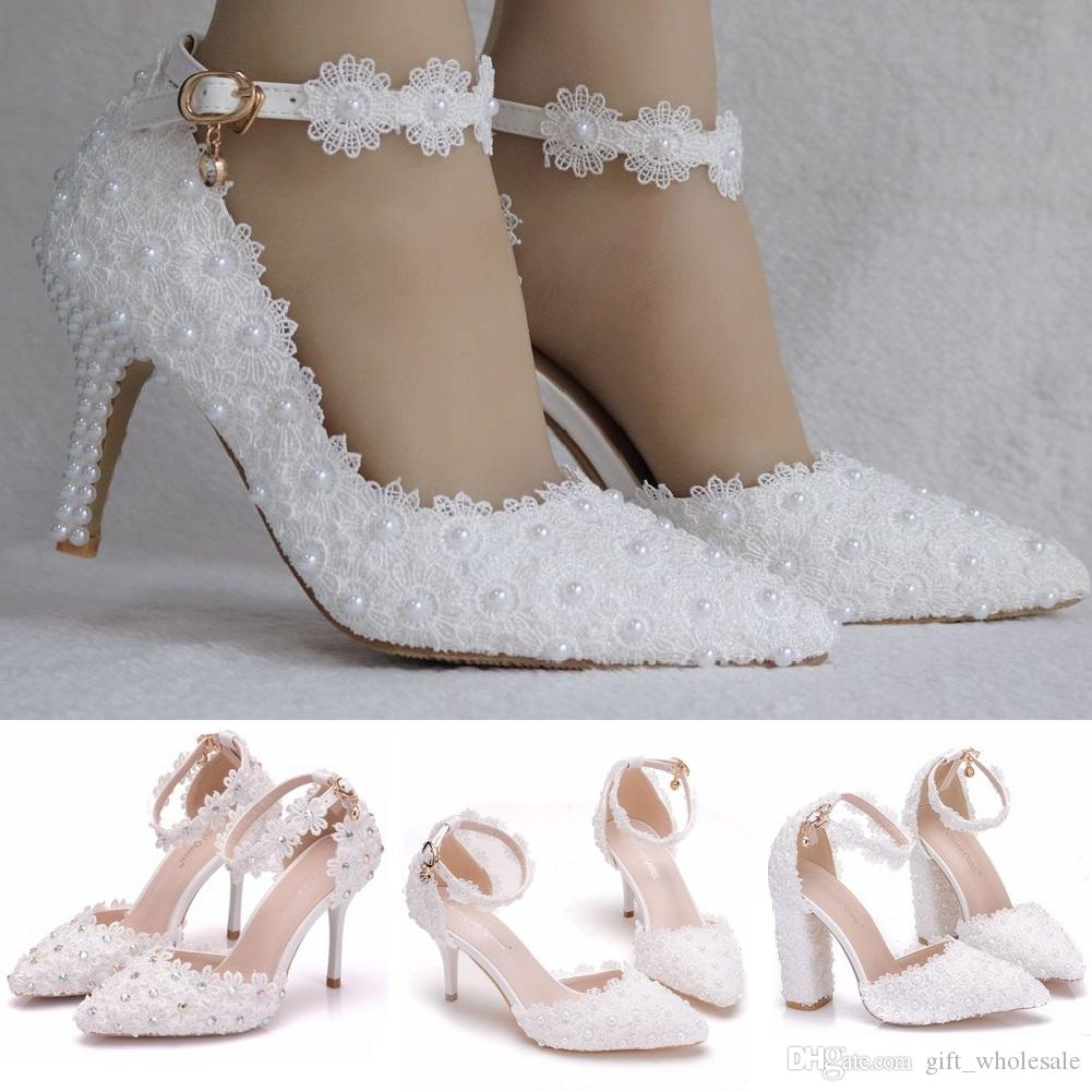 White Lace Pearls Rhinestones Wedding Shoes A word strap Stiletto Heel Pointed Toe bridal wedding sandals pumps bridal wedding shoes