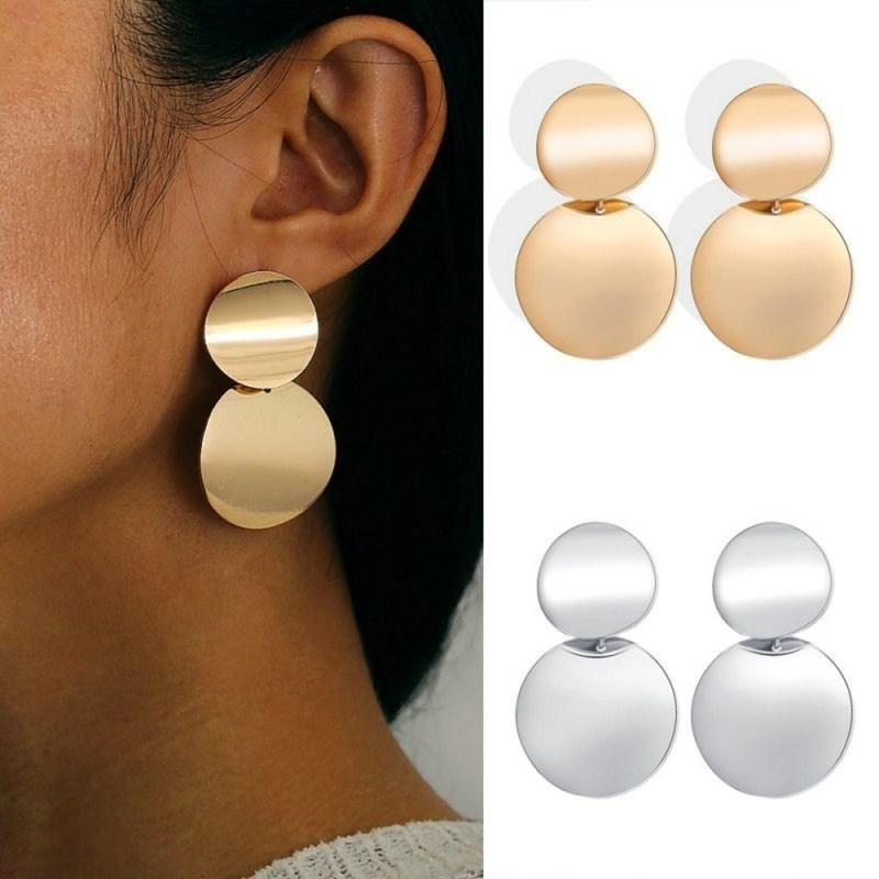 7e9e1dc8c1d3d0 2019 Fashion Jewelry Geometric Metal Big Round Earrings For Women Statement  Gold Silver Retro Circle Dangle Drop Earing Oorbellen From Barreline, ...