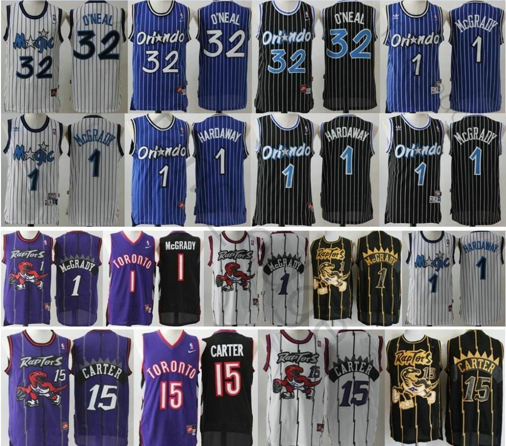 wholesale dealer 876a2 9f07c Retro Toronto 1 Tracy Raptors 15 Vince McGrady Carter Jersey And Orlando  Basketball 1 Penny 32 Shaquille Hardaway O'Neal Sewn Jerseys