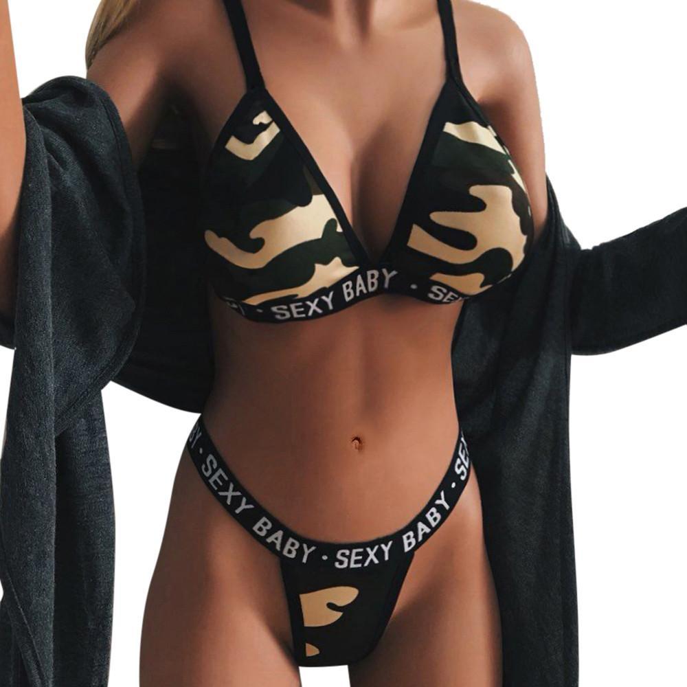 48de2b8a9 Compre Mulheres Lingerie Conjunto Corset Malha Underwire Camuflagem  Tentação Underwear Bra Thong Set Lingerie Femme   815 De Yuhuicuo