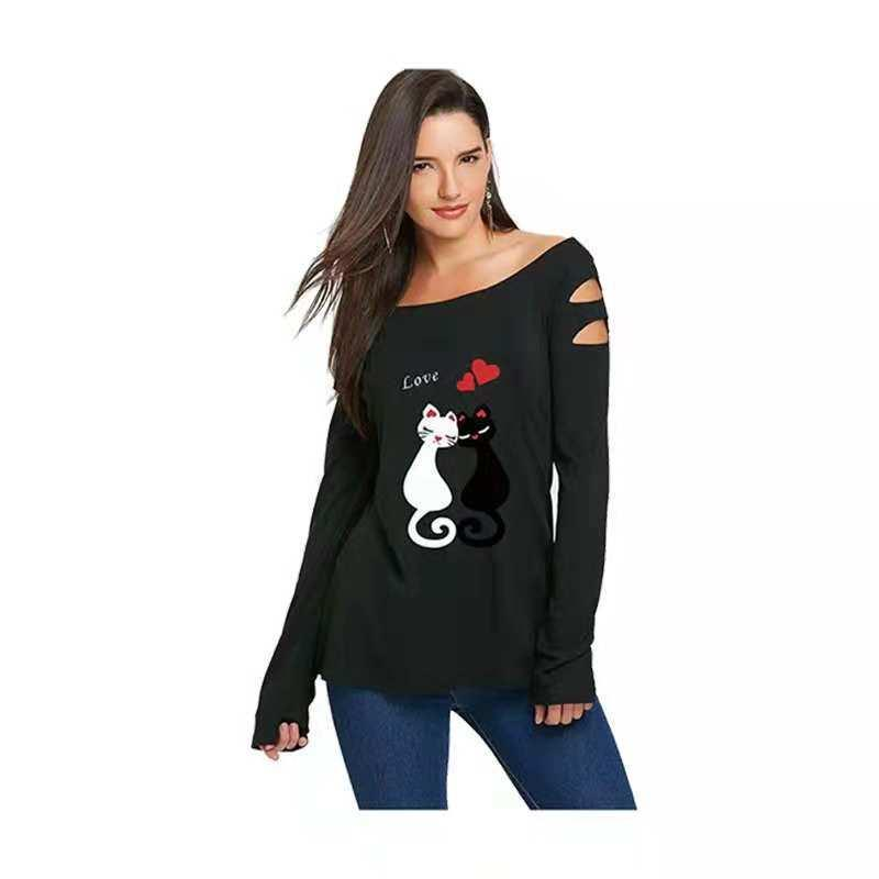 7e8127c0067 2019 Autumn Women Blouse Sexy Off Shoulder Cat Print Ladies T Shirt Long  Sleeve Blouse Tops Slim Women Blouse Shirt Create T Shirt Movie T Shirts  From ...