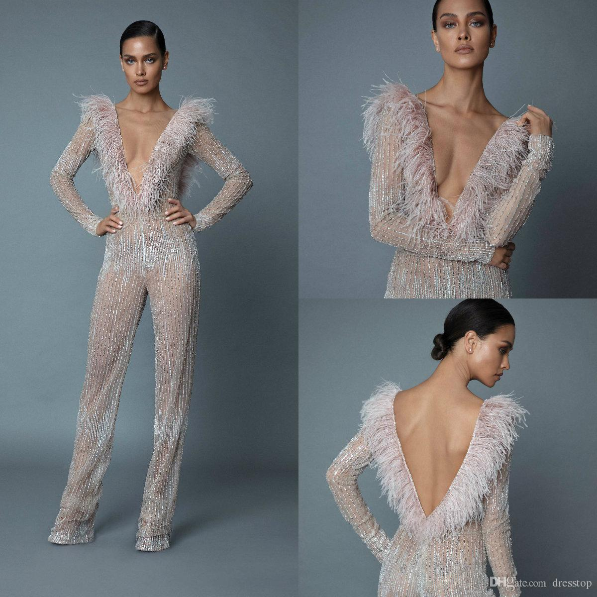 Sexy Berta Jumpsuits Prom Dresses V Neck Long Sleeve Crystal Evening Gowns With Feathers Dubai Arabic Party Runway Dress Custom Made