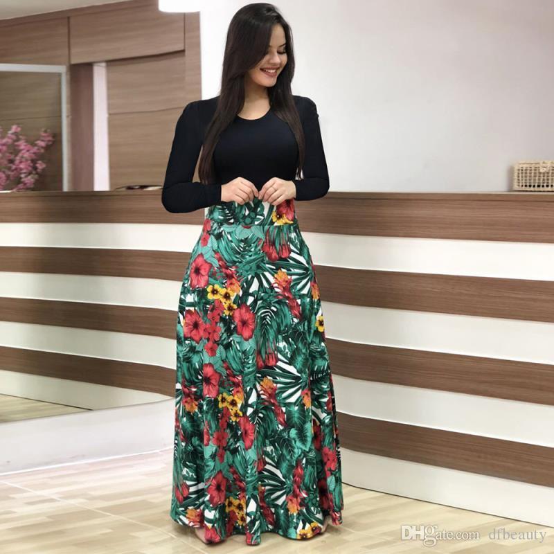 Mulheres floral impresso designer dress sexy com painéis o pescoço curto / manga longa casual bohemian dress beachwear plus size S-5XL atacado