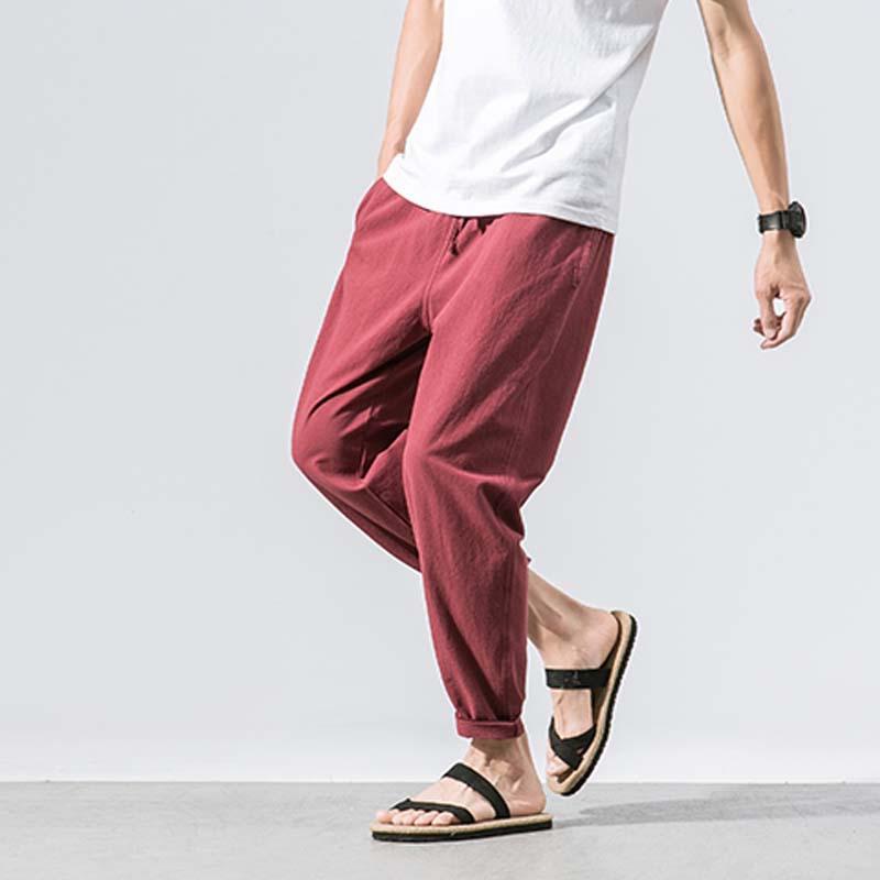 41c027d426f Linen Harem Pants Mens Jogger Male Casual Casual Pants  Loose Male Trousers Loungewear  Nightwear Lounge Men Pants Wide Legs P Harem Pants Cheap Harem Pants ...