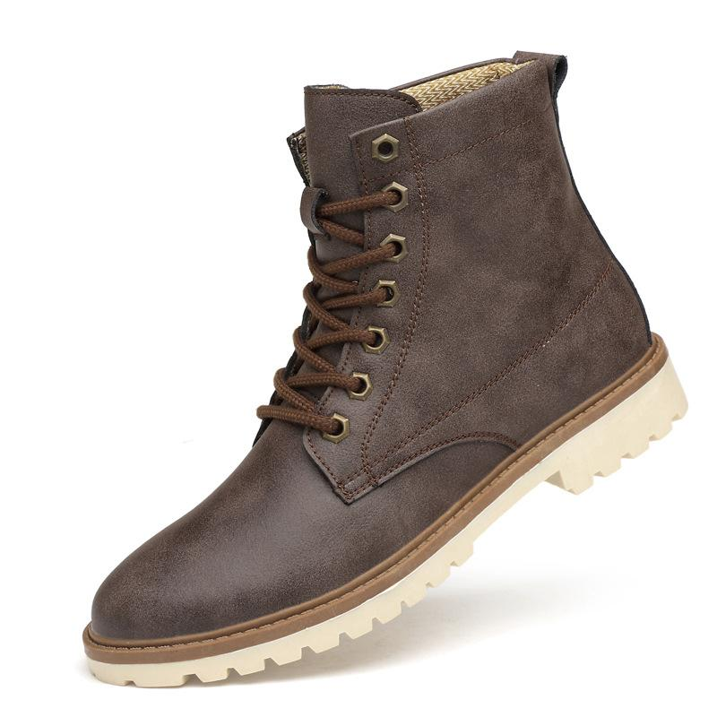 7b134e82f738 2018 Handmade Vintage Lace Up New Spring Genuine Leather Mens Platform Grey  Ankle Boots Brown Breathable Wing Work Shoe Red Shoes Footwear From  Tradingmk