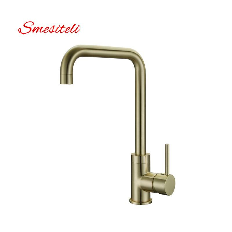Smesiteli Wholesale High Quality 100 Brass Brushed Gold Finish Kitchen Faucet Hot And Cold Water Faucet Sink Tap