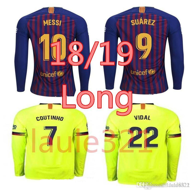6d6fc42cd Long Sleeve Men s Soccer Jersey 10 Messi Barcelona 2019 NEW 8 ...