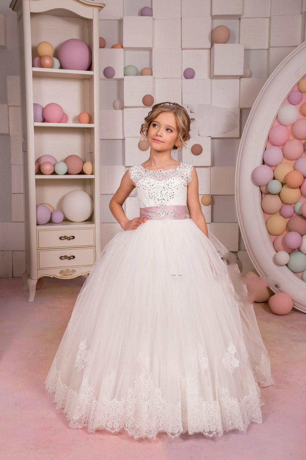 78d996c864844 White Ivory Flower Girl Dress Junior Bridesmaid Holiday Birthday Wedding  Party Ivory Lace Tulle Little Girl Dress Kids Formal Occasion Champagne  Colored ...