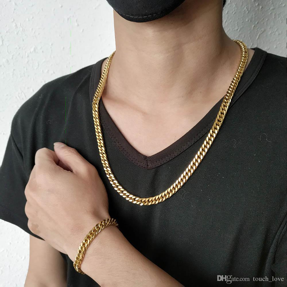 1d1fd58ad7978 Men Metal Bracelet & Necklace Set 7mm Pieces Gold plated Made Of Stainless  Steel New Style Man Fashion Jewelry Bracelet 80g