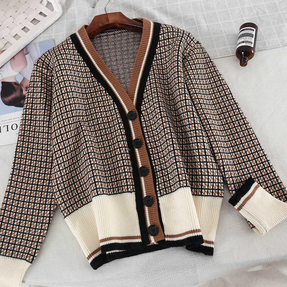 54554e9daceaf 2019 New Fashion Women s Cardigan Autumn And Winter V-neck Plaid ...
