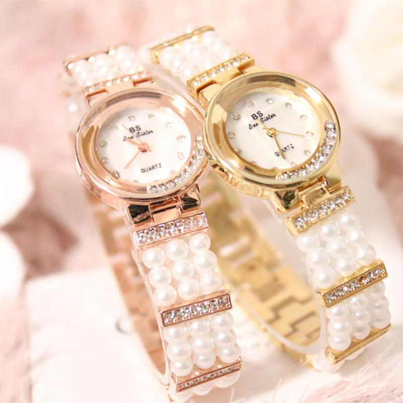 Quartz Movement Ladies Pearl Chain Watch Full Pearl Mother-Of-Pearl Bracelet Round Rhinestone Dial Watch