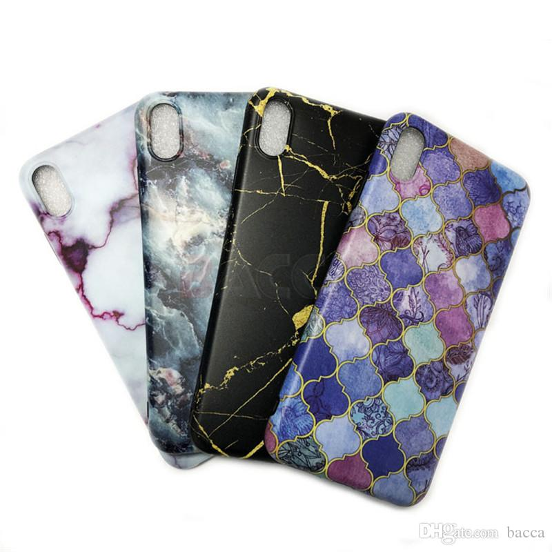 Glossy Marble Case For iPhone X Stone Image Pattern Cases Soft IMD Silicon Back Cover For iPhoneX 8 7 6 6S Plus