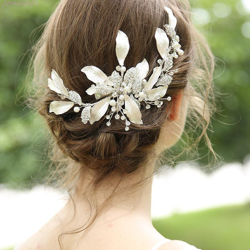 wholesale Generous Silver Leaf Women Barrette Rhinestone Bridal Headpiece Hand wired Wedding Hair Clip Accessories