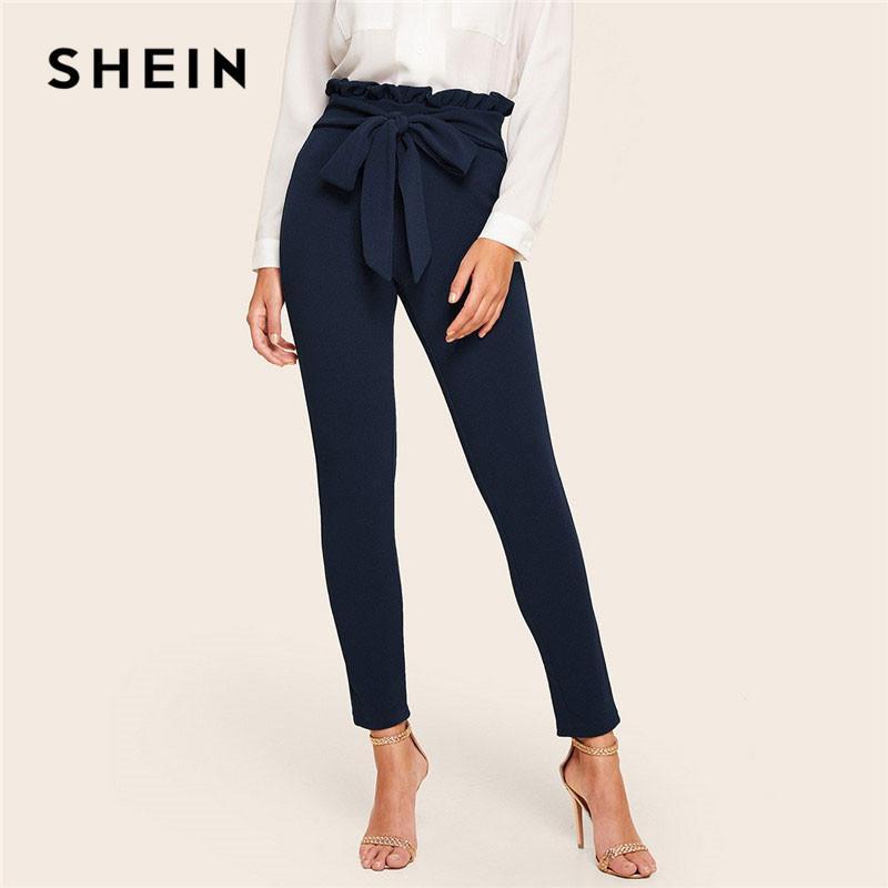 marchio popolare design moderno stili freschi SHEIN Elegant Paperbag Vita con cintura Dettaglio solido Vita alta  Pantaloni Donna Skinny Frill Trim Pantaloni elastici primavera estate