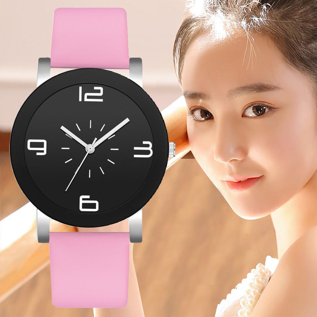 2019 New Fashion Monochrome Digital Scale Disc Belt Strap Ladies Watch Simple Casual black wrist watch for a girl giftC507