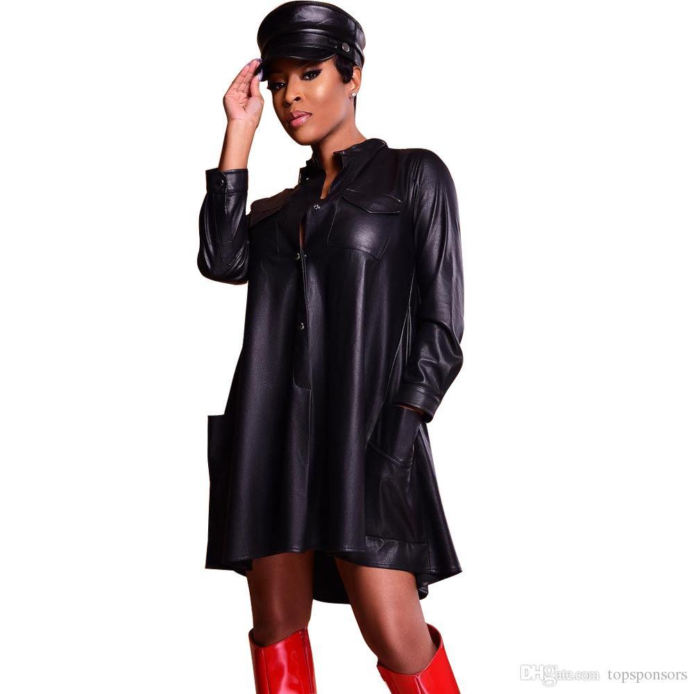 cea003de6b S-XXL Plus Size Dress Women Pocket Long Sleeve Winter Dress Sexy PU Leather  Mini Dress Vestidos Online with  28.75 Piece on Topsponsors s Store
