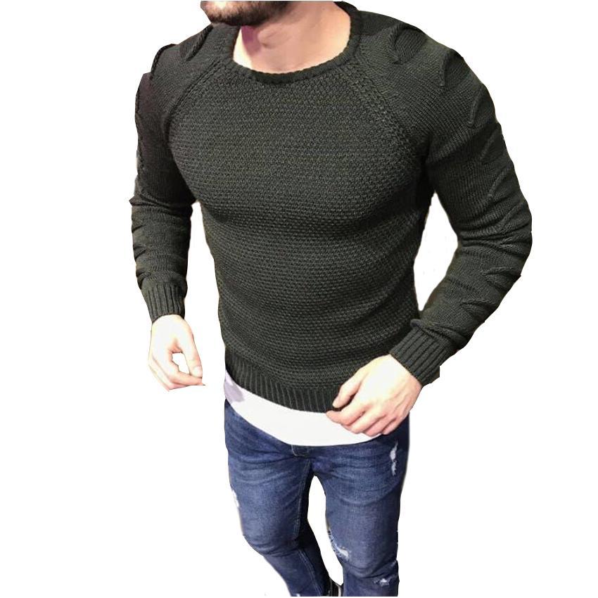 eb2e01305 Men s Stylish Autumn Raglan Sleeve Sweater Round Neck Slim Fit ...