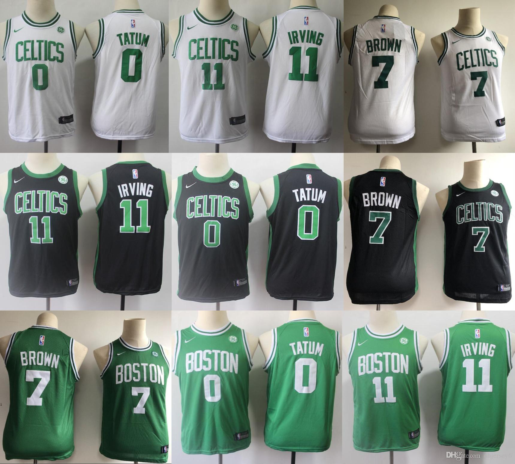 best service eaa45 7ce6d 11 Irving Jayson 0 Tatum Boston Jersey Celtic Jaylen 7 Brown 42 Horford  Gordon 20 Hayward Youth Kids Basketball Jerseys