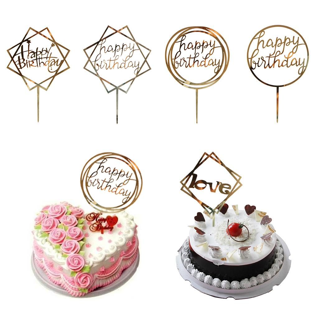 2019 Love Happy Birthday Golden Cake Topper Party Supplies Happy ...