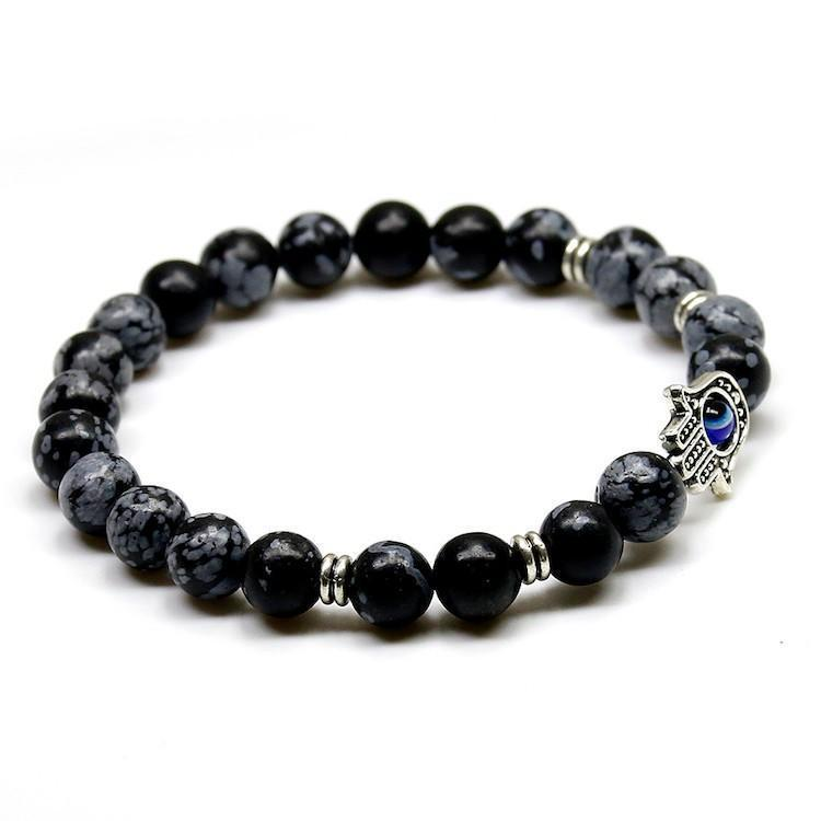 New Products 8mm Black Snowflake Stone Beads Buddha Palm Hand Bracelet, Yoga Meditation Energy Jewelry For Women and Men