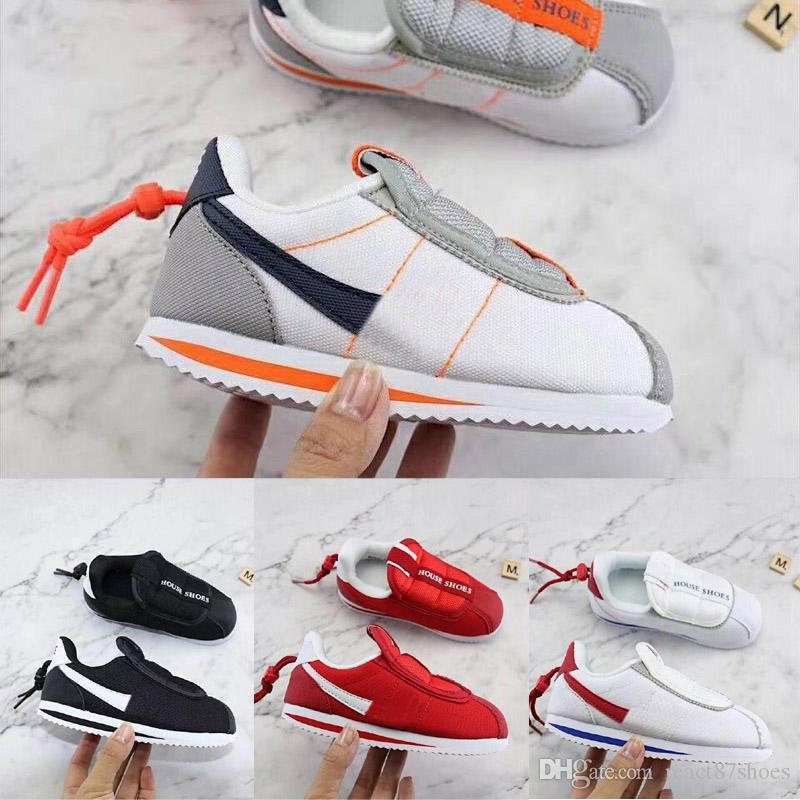 new arrival 405e4 21bee Kendrick Lamar x Cortez Kenny Basic Slip Kids Running Shoes Orange Red  white Boy Girls House shoes Designer Children sneakers 28-35