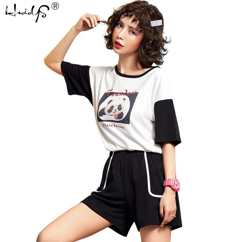 Cheap Summer Pajamas Sleepwear Cartoon Tee   Shorts PJ Set Woman Short  Sleeve Nightwear Letter Print Pajama Set Home Clothing 6f16994a5